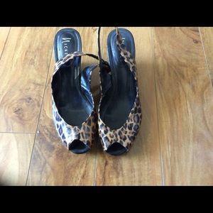 Animal print/Black sandal, wedges shoes